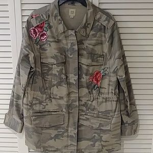 Tres Chic camouflage stroller length jacket
